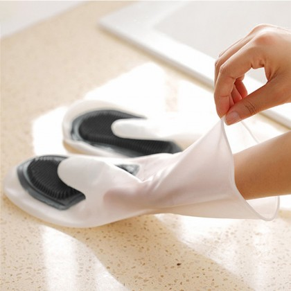 iDECO Silicone Dish Washing Glove with Brush Scrubber Kitchen Cleaning Oven Anti Scalding Insulation Eco-Friendly