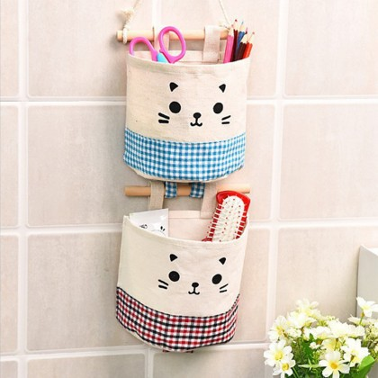 iDECO Fabric Cotton and Linen Pocket Wall Hanging Storage Bags