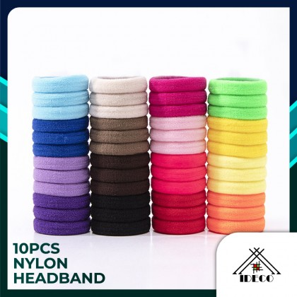 iDECO 4cm 10pcs Nylon Cotton Elastic Hair Bands for Girls Headband Hair Accessories