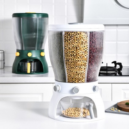 iDECO Multifunctional 4 Grid Food Storage Container Nut Cereal Dispenser Large Capacity with Lids Moisture and Compartments