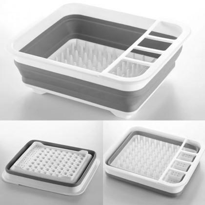iDECO Foldable Drying Dish Rack PP Folding Kitchen Tableware Board Organizer Rak Pinggan