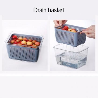 iDECO Double Sealed Drain Storage Box Refrigerator Fruit Vegetable Drain Storage Containers With Lid Kitchen Fridge Organizer