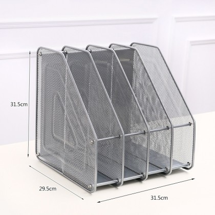 iDECO 4 Compartment Vertical Sorter File Rack File Desk Book Organizer A4 Document Holder Metal Tray For Office & Home