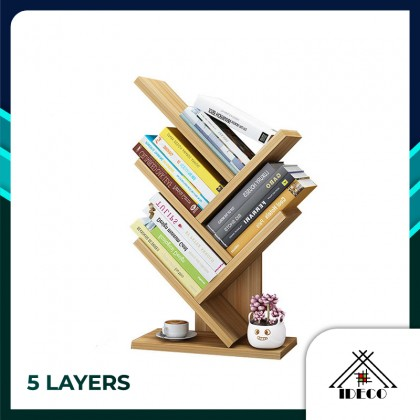 iDECO 5 Layers Tree Shape Table Top Bookshelf Bookcase Storage Rack Modern Style