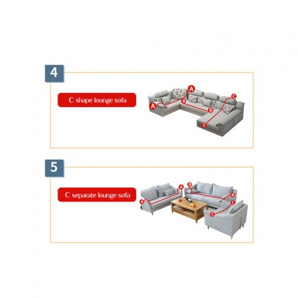 iDECO Sofa Cover 1/2/3/4 Seater Sarung Sofa L Shape Slipcover Elastic Anti Skid anti scratch Scratch Protector Solid Color Cushion Couch