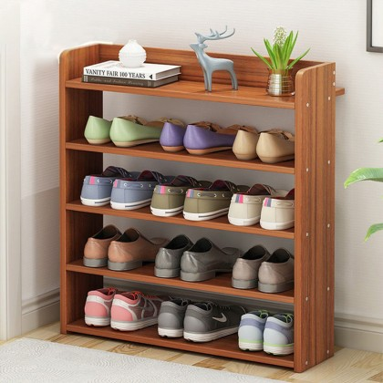 iDECO 5 Tiers Space Saving Shoe Rack Wooden Shoe Storage Cabinet (WALNUT)