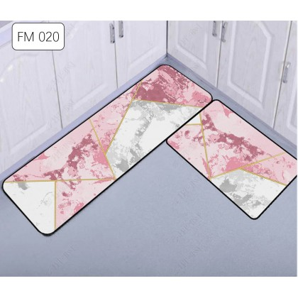 (20CORAK) New Design 2pcs Set Kitchen Bedroom Toilet Anti Slip Floor Mat Carpet Rug Foam (40x60cm + 40x120cm)