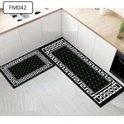 (20CORAK) New Design 2pcs Set Kitchen Bedroom Toilet Anti Slip Floor Mat Carpet Rug Foam (40x60cm + 40x120cm)