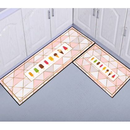 (30CORAK) New Design 2pcs Set Kitchen Bedroom Toilet Anti Slip Floor Mat Carpet Rug Foam (40x60cm + 40x120cm)