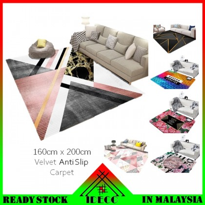 ( 27 Design ) iDECO Bedroom Living Room Velvet Anti Slip Carpet / Floor Mat/ Rugs / Tatami(Size 160cm x 200cm)