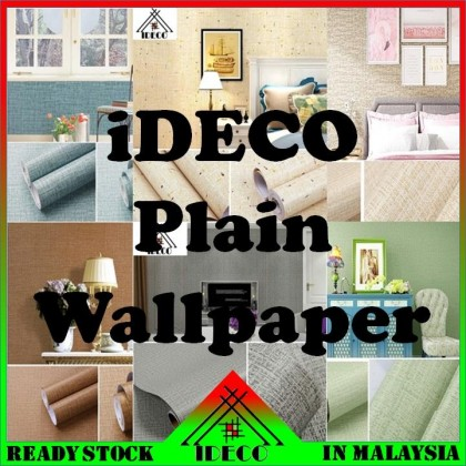 IDC DIY Self Adhersive Decorative Wallpaper (10mLength x 45cmWidth) (PLAIN CORAK)