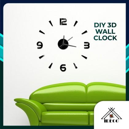 iDECO DIY 3D Living Room Large Quartz Acrylic Mirror Wall Clock