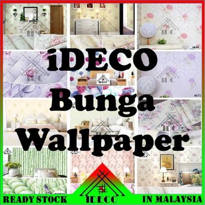 (20CORAK) IDC DIY Self Adhersive Decorative Wallpaper (10mLength x 45cmWidth) BUNGA