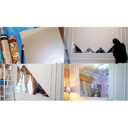 iDECO Self Adhesive Acrylic Mirror / Wainscoting Mirror Uses / Toilet Mirror / Solek Cermin
