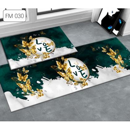 (13 CORAK) IDECO New Design 2pcs Set Kitchen Bedroom Toilet Anti Slip Floor Mat Carpet Rug Foam (40x60cm + 40x120cm)
