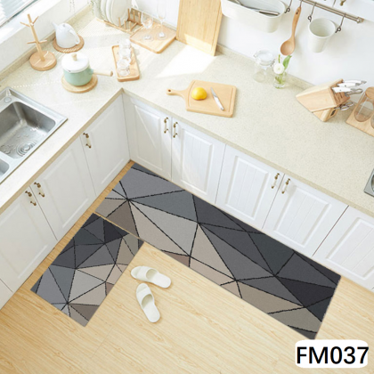 (13 CORAK) New Design 2pcs Set Kitchen Bedroom Toilet Anti Slip Floor Mat Carpet Rug Foam (40x60cm + 40x120cm)