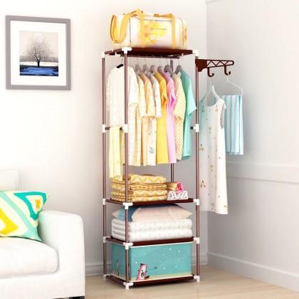 iDECO Korean Multipurpose Cloth Organizer Rack Wardrobe Rak Baju / Cloth Hanger Stand Rack / Hanger Clothes Rack