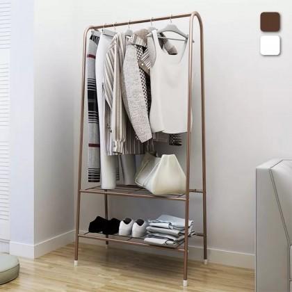 iDECO AntiRust 2-Tier Metal Garment Rack with Bottom Shelves for Shoes Storage Indoor/Outdoor Drying Rack / Cloth Hanger