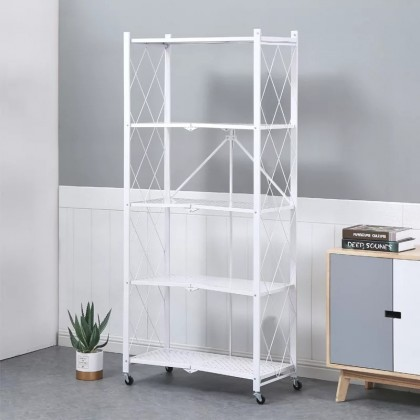 iDECO 5 Tier Foldable Storage Rack With Wheel For Living Room Bedroom Kitchen