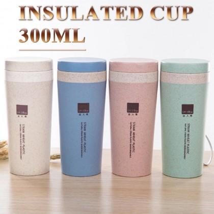 Portable Wheat Straw Fiber Thermal Bottle Double Layer Milk Mug Vacuum Insulating Cup for Coffee Milk Tea 300ml