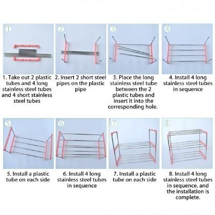 IDECO 4 Layer Stainless Steel Economic Shoe Rack multifunctional storage rack Household Easy assembled Kasut Rak