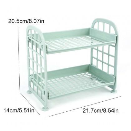IDECO LOWEST PRICE Two-Layer Plastic Practical Kitchen Bathroom Hundred Storage Rack Storage Self Rack Fragment Rack