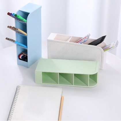 IDECO Multi-function 4 Grid Desktop Office School Storage Pen Holder Simple Transparent Matte Oblique Insert Pen Holder