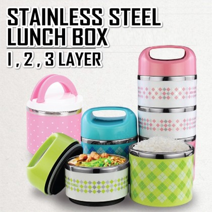iDECO **LIMITED OFFER!! Colourful Stainless Steel Lunch Box 1,2,3 Layer Food Storage
