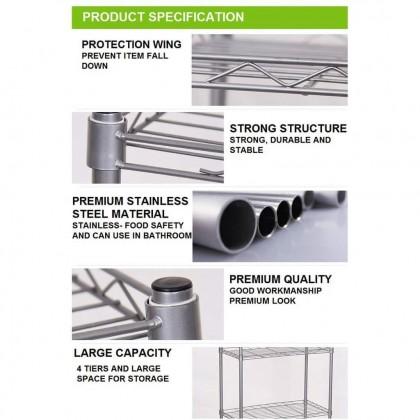 IDECO [Ready Stock] 5 Tier Tiers Multipurpose Metal Kitchen Dapur Organizer Storage Rack Shelves (1.6m)