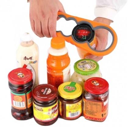 IDECO Quality 4 in 1 Handy Anti-slip Can Lid Screw Opener Bottle Opener Silicone Jar Gripper Bottle Opener Can Opener
