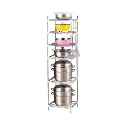 iDECO VIRAL Multi Layers Stainless Steel Multi-function Pot Rack Kitchen Storage Rack Floor Standing Kitchen Supplies